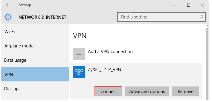 L2TP-configuration on a USG-Firewall using the Windows built